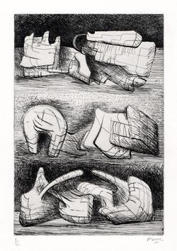 Moore Henry : Gravure originale signée : Three sculptures motives