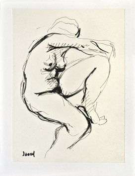 Signed drawing in ink de  : Study of a nude XII