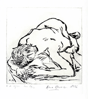 Original signed drypoint de Mounic Anne : Nu I, 12