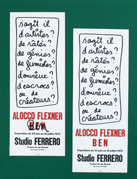 Original signed poster de Ben (B. Vautier) : Exhibition Ben and Flexner