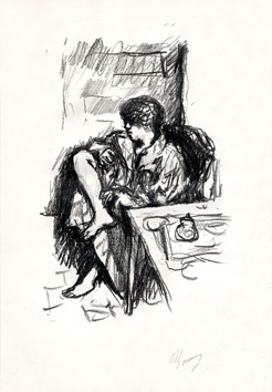 Signed lithograph de  : La toilette assise