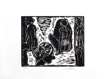 Signed woodcut de  : Garden of Suzanne III