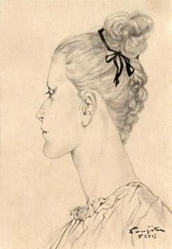 Foujita Léonard : Original signed drawing : Profile II