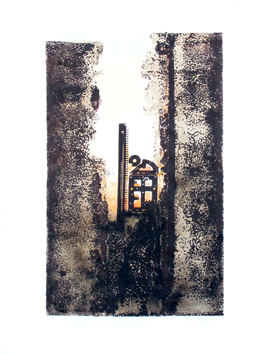 Original signed monotype de  : Ruine d'ascenseur C