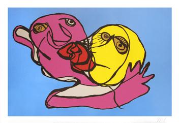 Appel Karel : Sérigraphie originale signée : Sky blue Kiss