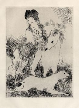 Laurencin Marie : Gravure originale : La promenade � cheval