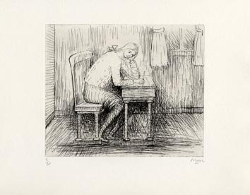 Moore Henry : Gravure signée : Girl doing homework I
