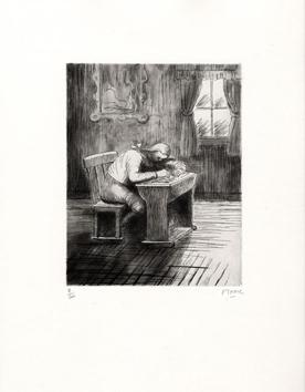 Moore Henry : Aquatinte signée : Girl doing homework III