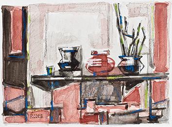 Signierte Original-Aquarell de  : Les trois vases (Rajahstan)