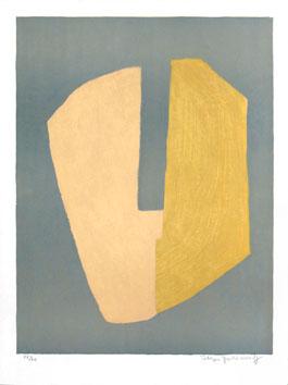 Poliakoff Serge : Lithographie signée : Composition jaune et bleue
