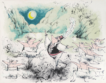 Lithographie originale signée de Searle Ronald : Swine Lake