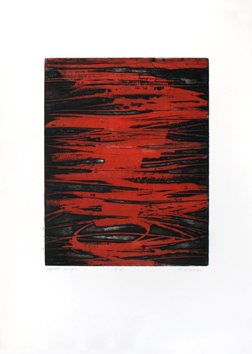 Original signed etching de  : Red reflections