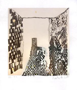 Vieira Da Silva : Lithographie signée : La chambre