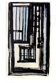Vieira Da Silva : Lithographie signée : Le balcon