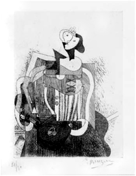 Etching de  : Sitted woman