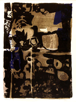 Original signed lithograph de  : Ochre-black