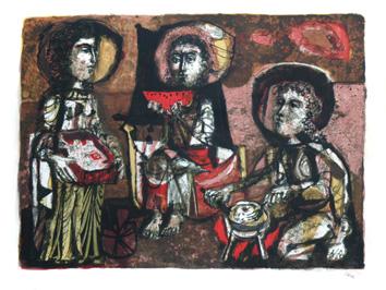 Clavé Antoni : Lithographie originale signée : Les trois Maries