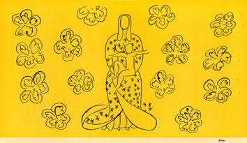 Matisse Henri : Lithographie d'interprétation : Vierge, enfant, fond jaune