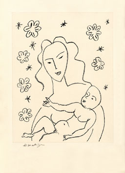 Matisse Henri : Lithographie signée : Vierge et enfant
