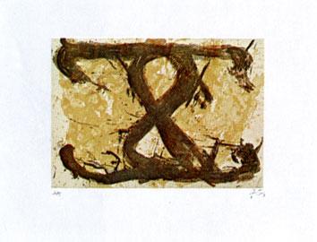 Tàpies Antoni : Gravure signée : Le Huit