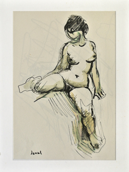 Original signed drawing de  : Study of a nude XIII