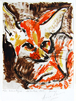 Original signed monotype de Mounic Anne : Fennec
