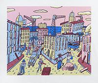 Signierte Originallinolschnitt de  : Travaux urbains