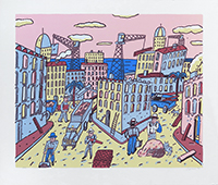 Original signed linocut de  : Travaux urbains