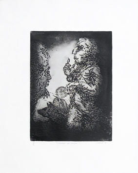 Original signed etching de  : The man with dog