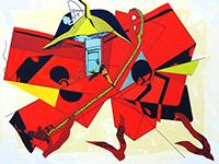 Signierte Originallithographie de  : Rotes Kreuz