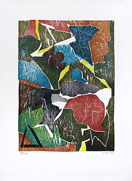 Bois gravé original signé de  : Chemin de bois, planche 4