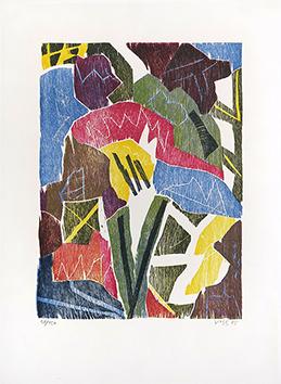 Bois gravé original signé de  : Chemin de bois, planche 3