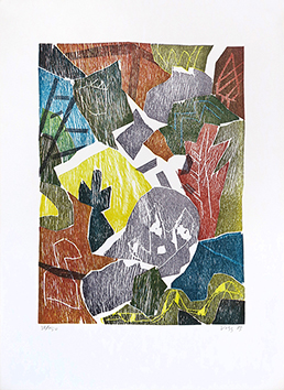 Bois gravé original signé de  : Chemin de bois, planche 1