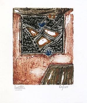 Bois gravé original signé de  : Carte de voeux 1968