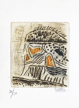 Original signed woodcut de  : Greeting card 1967