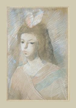 Laurencin Marie : Dessin original : Portrait de Jeune Fille
