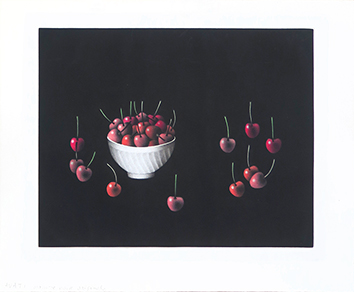 Original mezzotint de  : Unknown title, Bowl and cherries