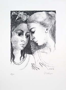 Lithographie originale signée de  : Confidences (Secrets) II