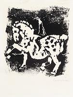 Monotype original signé de  : Cheval et cavalier