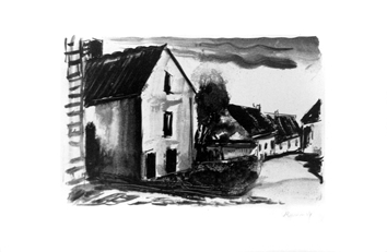 Original signed lithograph de  : Rustic houses in Valmondois I