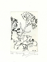 Original signed drypoint de Mounic Anne : Bouquet - Carte de vœux