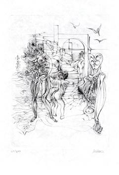 Bellmer Hans : Burin signé : Nus et mouettes
