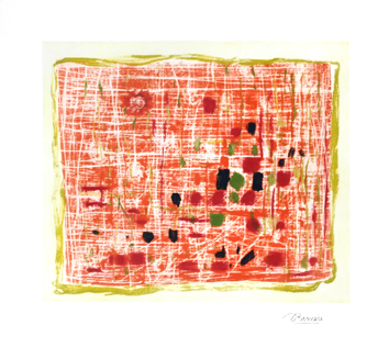 Signed etching de  : Green and orange