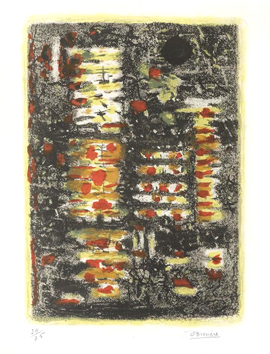 Signed lithograph de  : Yellow and black composition