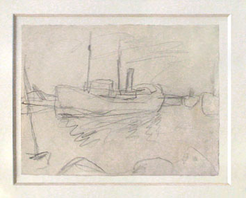 Bonnard Pierre : Dessin au crayon original : Scène maritime