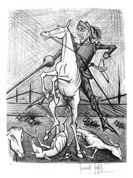 Lithograph signed de  : Don Quichotte, horse and spade