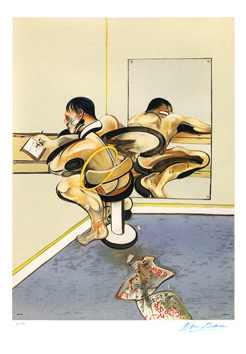 Signed lithograph de  : Figure writing reflected in a mirror
