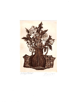 Original signed engraving de  : Vase of flowers
