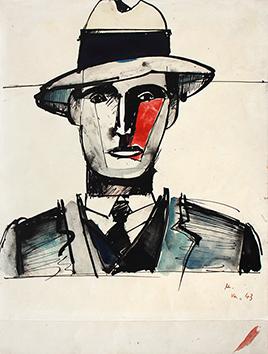 Originale Tusche-Zeichnung de  : Homme au chapeau II