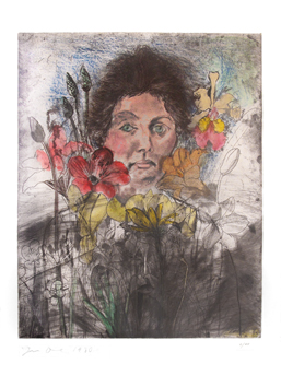 Original signed etching de Dine Jim : Nancy outside in July VI, Flowers of the Holy Land